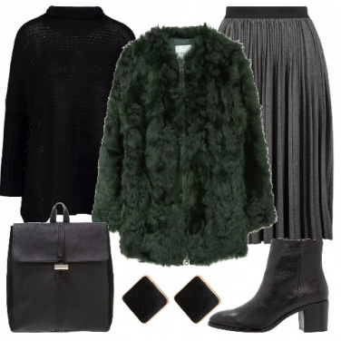 Outfit Gonna plissè e maglione
