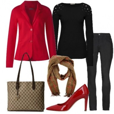 Outfit Giacca rossa e jeans neri
