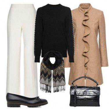 Outfit Con il cappottino cammello