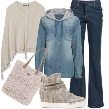 Outfit Jeans e panna