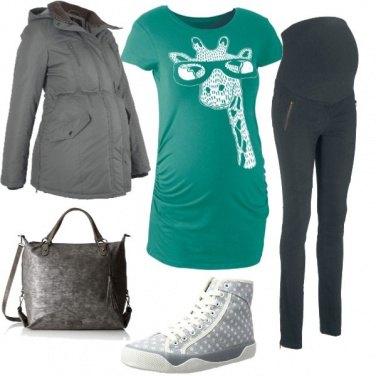 Outfit Premaman grigio