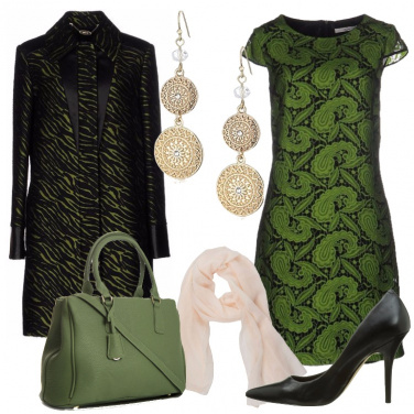 Outfit Eleganza in verde e nero