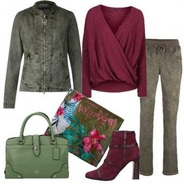 Outfit Oliva e bordeaux