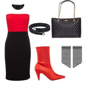 Outfit Black, White and Red