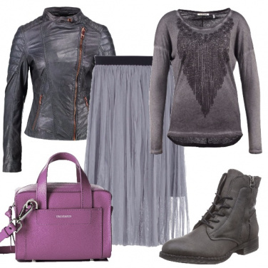 Outfit Rock in grigio