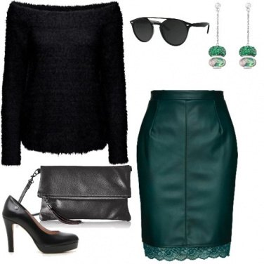 Outfit Verde lana e pelle