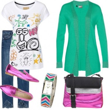 Outfit Colore per un pomeriggio di shopping