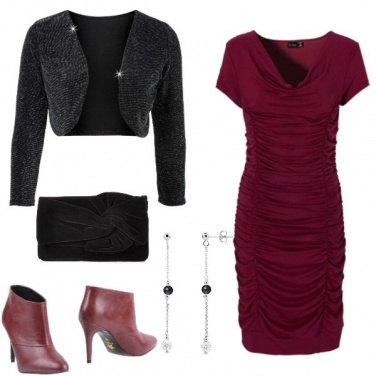 Outfit Natale in bordeaux