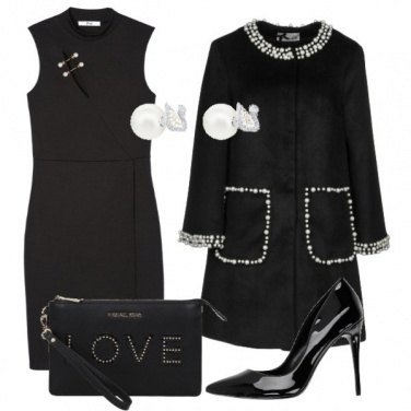 Outfit Nero e perle