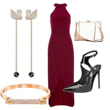 Outfit Cerimonia in bordeaux e oro