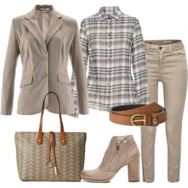 Outfit Blazer tortora camicia scozzese