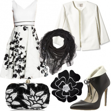 Outfit Chic floreale in bianco e nero