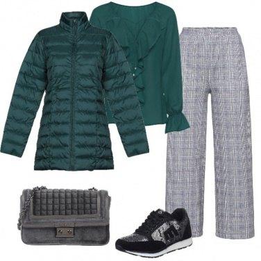 Outfit Super chic verde e grigio