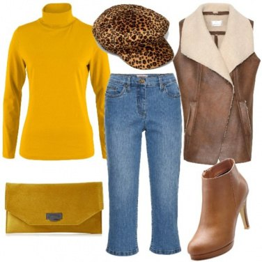 Outfit Marrone e curry
