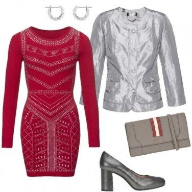 Outfit Serata in rosso e argento