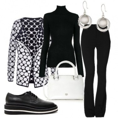 Outfit Il cardigan double-face a pois