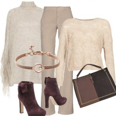 Outfit Total beige e poncho