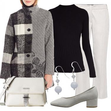 Outfit Bianco nero grigio