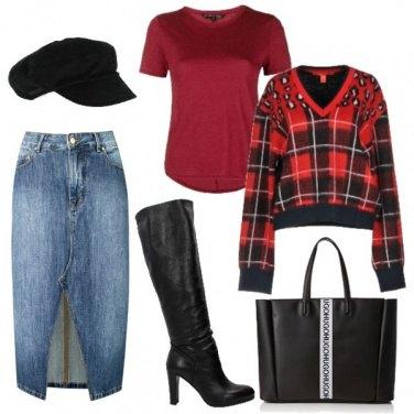 Outfit La pencil skirt di jeans