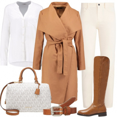 Outfit Minimal con borsa griffata