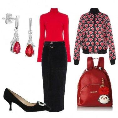 Outfit Romantica in rosso e nero