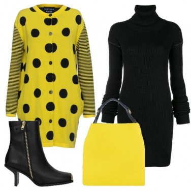 Outfit Pois e righe sul giallo