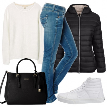 Outfit Casual in bianco e nero