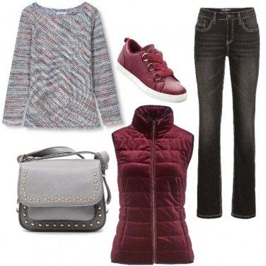 Outfit Grigio e rubino