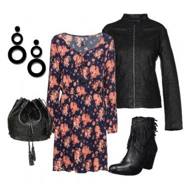 Outfit Fiori e pelle