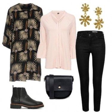 Outfit Spolverino fantasia e jeans