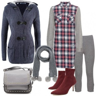 Outfit Chemisier in flanella e cardigan