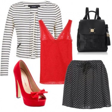 Outfit White black and red afternoon