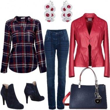 Outfit Jeans a vita alta e camicia check