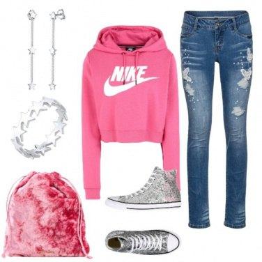 Outfit Rosa e paillettes
