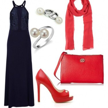 Outfit Blu, rosso e perle..