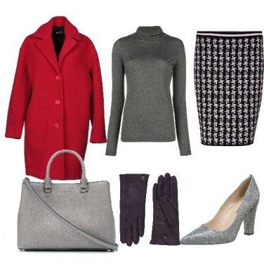 Outfit Elegante in grigio e rosso