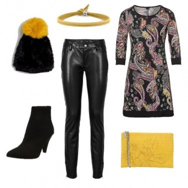 Outfit Disegni cachemire in giallo