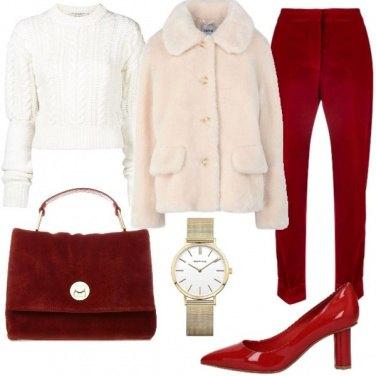 Outfit Rosso e panna