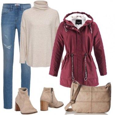 Outfit Parka bordeaux