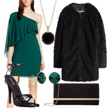 Outfit Serata in verde e nero
