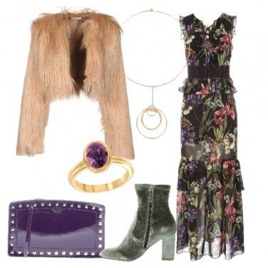 Outfit Vestito lungo floreale ecopelliccia
