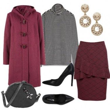 Outfit Bordeaux e righe