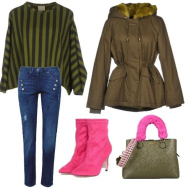 Outfit Fuxia e verde