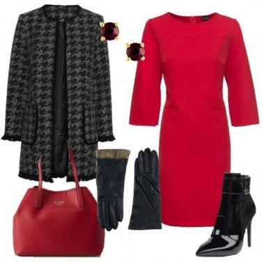 Outfit Giacca bouclé vestito rosso