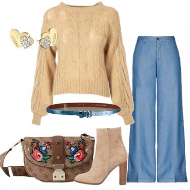 Outfit Jeans e maglione fluffy