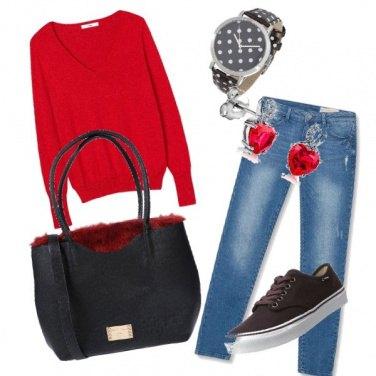 Outfit Sabato pomeriggio in rosso