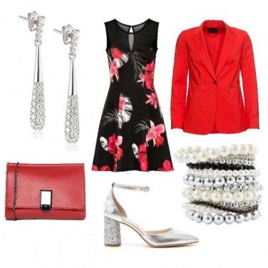 Outfit Rosso, nero e argento