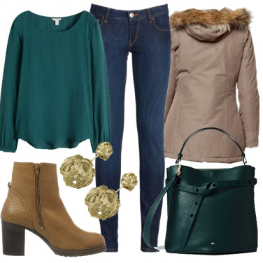 Outfit Verde in inverno