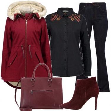 Outfit Denim e burgundy