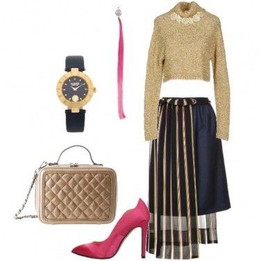 Outfit Oro blu e fuxia